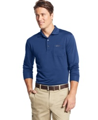 Greg Norman For Tasso Elba 5 Iron Long Sleeve Solid Performance Polo Only At Macy's Boca Blue