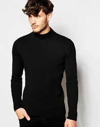 Asos Turtle Neck Ribbed Jumper Black
