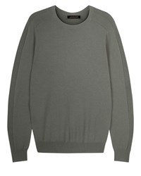 Jaeger Men's Integral Rib Crew Neck Sweater Green