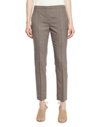Elie Tahari Karis Plaid Stretch Wool Slim Trousers Chicory