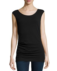 James Perse Sleeveless Tucked Stretch Knit Top Black