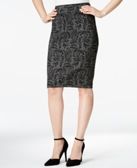 Style And Co. Petite Pull On Ponte Knit Scroll Print Pencil Skirt Only At Macy's