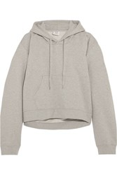 Vetements Printed Cotton Blend Jersey Hooded Top Light Gray Usd