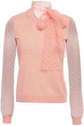Red Valentino Redvalentino Woman Point D'esprit Paneled Cashmere And Silk Blend Top Antique Rose