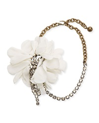 Lanvin Flower Chain And Crystal Choker Necklace White Ivory