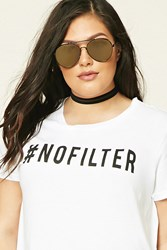 Forever 21 Plus Size No Filter Graphic Tee White Black