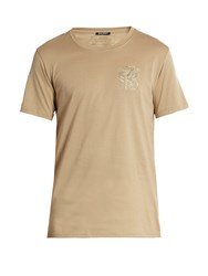 Balmain Logo Embroidered Short Sleeved Cotton T Shirt Beige