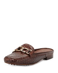Sesto Meucci Margret Woven Leather Mule Dark Tan