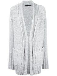 Calvin Klein Collection Ribbed Trim Cardigan Grey