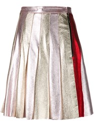 Sonia Rykiel By Pleated Skirt Women Leather 38 Metallic