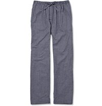 Derek Rose Check Cotton Flannel Pyjama Trousers Blue