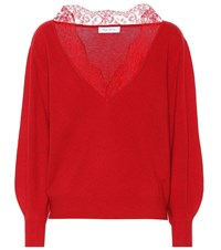 Ryan Roche Cashmere And Lace Sweater Red