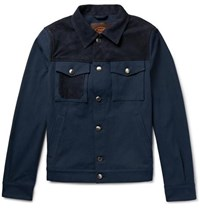 Tod's Nubuck Panelled Denim Jacket Dark Denim