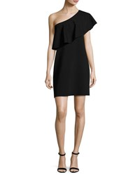 Milly One Shoulder Flounce Dress Black