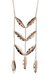 Robert Lee Morris Jewelry Gold Plated Long Feather Statement Necklace Metallic