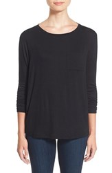 Women's Cj By Cookie Johnson Long Sleeve Pocket Tee Black Jm