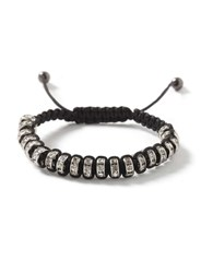 Topman Black Fabric And Crystal Bracelet White