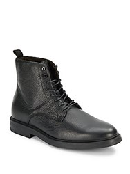 A. Testoni Textured Lace Up Ankle Boots Nero