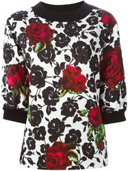 Dolce And Gabbana Rose Print Brocade Sweatshirt White