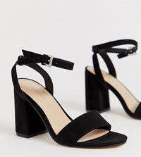 London Rebel Wide Fit Barely There Block Heel Sandals Black