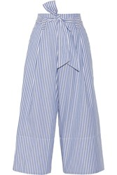 By Malene Birger Bennih Cropped Striped Cotton Poplin Wide Leg Pants Blue