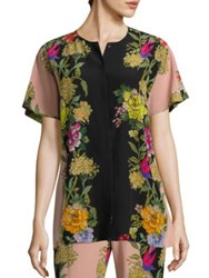 Etro Butterfly Floral Silk Button Down Blouse Pink
