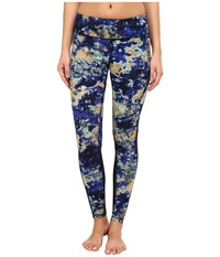 Zobha Cosmo Printed Leggings With Mesh Panels Muscari Blue Women's Workout
