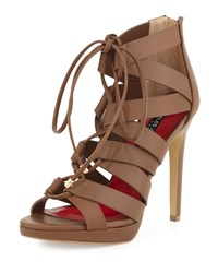 Charles Jourdan Jackie Leather Lace Up Sandal Tan
