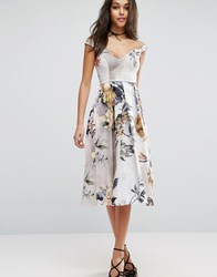 Asos Off Shoulder Floral Midi Prom Dress Multi