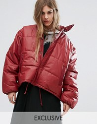 Reclaimed Vintage Oversized Padded Jacket Maroon Red