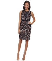 Adrianna Papell Floral Print Sheath W Solid Navy Ivory Women's Dress Blue