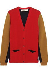 Marni Color Block Wool Cardigan Red