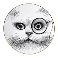 Rory Dobner Perfect Plates Cat With Monocle Black And White