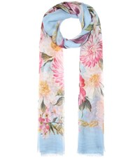 Dolce And Gabbana Printed Silk Scarf Blue
