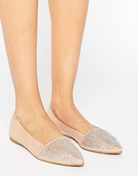 Little Mistress Pointed Glitter Detail Flat Shoes Nude Beige