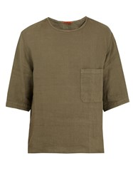 Barena Crew Neck Linen T Shirt Dark Green