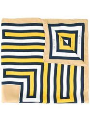 Christian Dior Vintage Geometric Print Scarf Yellow Orange