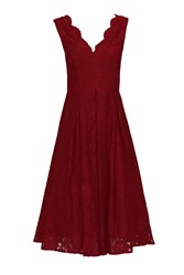 Jolie Moi V Neck Pleated Lace Dress Red