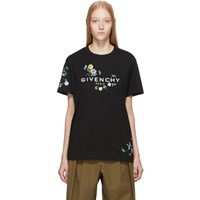 Givenchy Black Masculine Floral Embroidered T Shirt