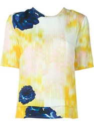 Lala Berlin Flower Print Boxy Top Yellow And Orange