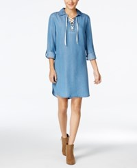 Styleandco. Style Co. Lace Up Denim Dress Only At Macy's Sun Wash