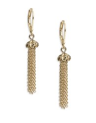 Lonna And Lilly Floral Chainlink Tassel Drop Earrings Gold