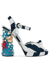 Dolce And Gabbana Embellished Striped Canvas Sandals Navy
