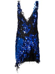 Amen Asymmetric Hem Sequin Dress Black