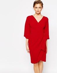 Closet Midi Dress With D Ring Detail Red