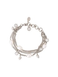 Alexander Mcqueen Three Tier Charm Bracelet Metallic