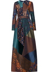 Etro Embellished Patchwork Jacquard Gown Multi