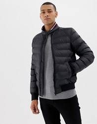 Tommy Hilfiger Arlos Sonora Filled Puffer Jacket Icon Flag Logo And Stripe Collar In Black Jet Black
