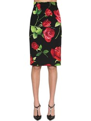 Dolce And Gabbana Printed Stretch Charmeuse Pencil Skirt Multicolor
