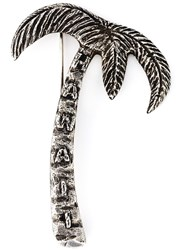 Saint Laurent Palm Tree Pin Metallic